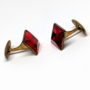 Vintage Red Square Face Cuff Links